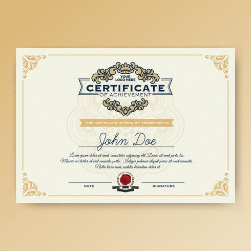 Vintage elegantes Zertifikat der Leistung vektor