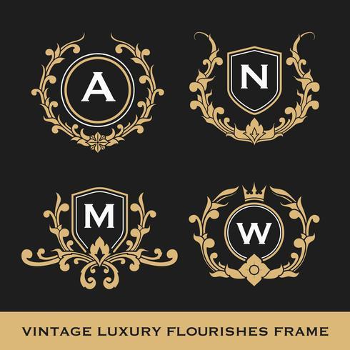 Conjunto de diseño de plantilla de marco de monograma de lujo vintage