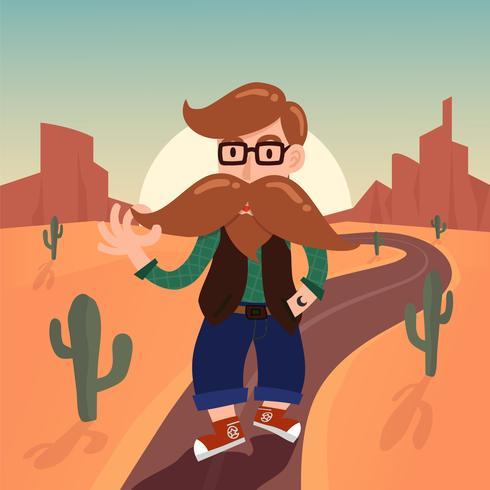Lindo personaje de dibujos animados de caballero inconformista con largo bigote a pie
