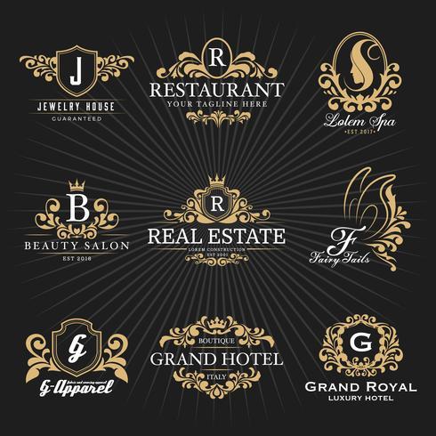 Weinlese-königliches heraldisches Monogramm und Rahmen Logo Decorative Design