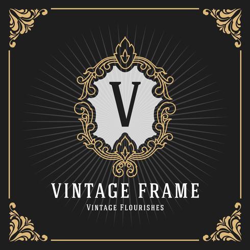 Design de modelo de Banner de luxo Vintage monograma