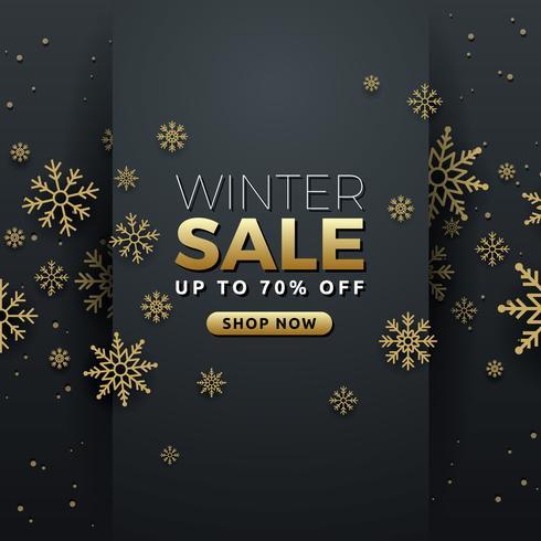 Winterschlussverkaufhintergrund-Fahnenschablonendesign mit Schneeflocke