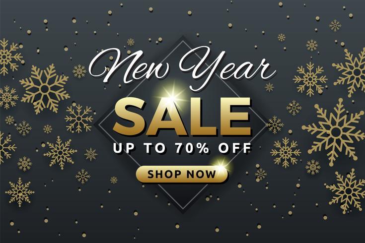 Verkaufshintergrundfahnen-Schablonendesign des neuen Jahres mit Schneeflocke
