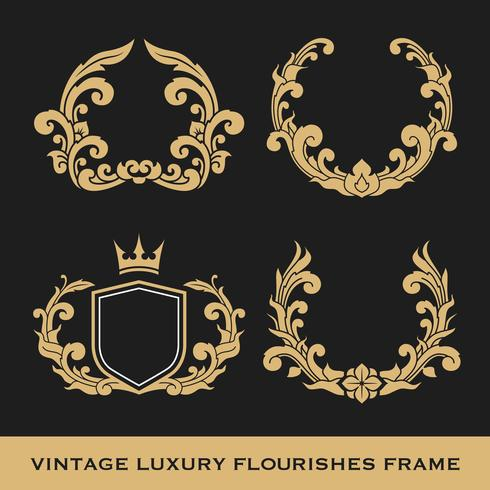 set of vintage luxury monogram frame template design download free