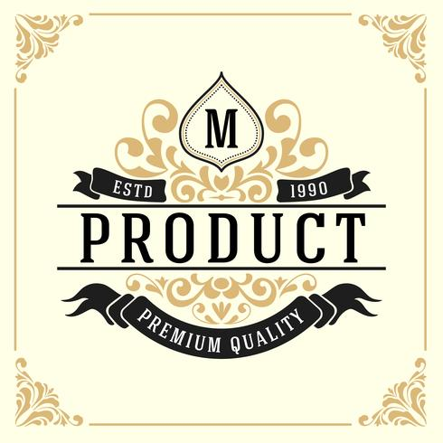 Plantilla de logotipo de monograma de lujo vintage vector
