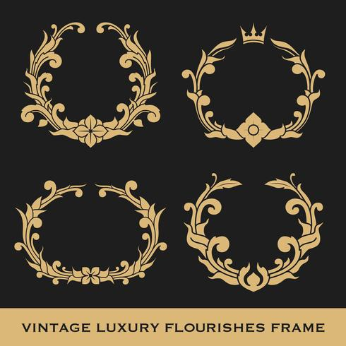 Conjunto de design de modelo de quadro Vintage luxo monograma