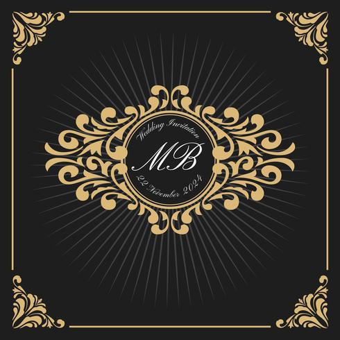 Weinlese-Luxusmonogramm Logo Template