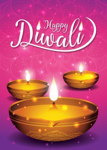Festival de Diwali volante y fondo del cartel