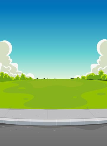 Pavement And Green Park Background vector