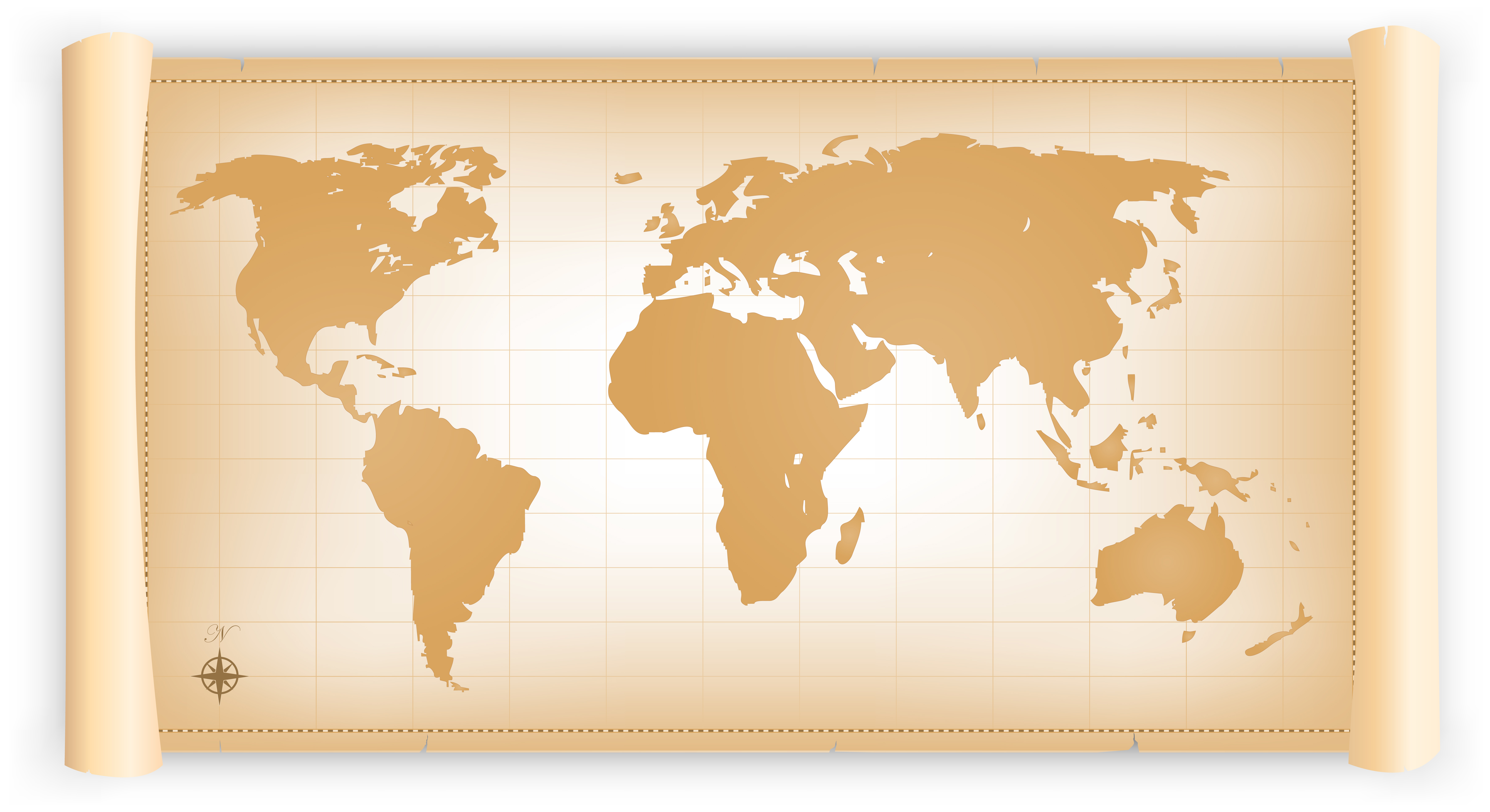Vintage World Map On Parchment Scroll - Download Free ...