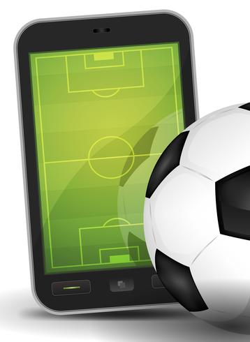 Sport Ground On Smartphone With Soccer Ball