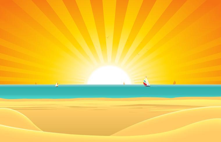 Sommerstrand mit Segelboot-Postkarten-Hintergrund vektor