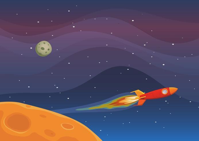 viaggio della nave spaziale nello spazio vettore