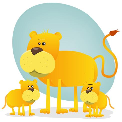 Female Lion And Its Babies vector