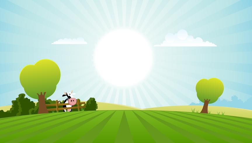 Vaca lechera en el paisaje de verano vector