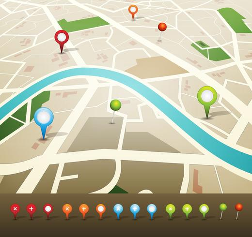 Street Map With GPS Pins Icons