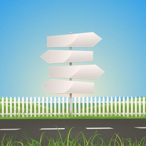 Vår eller sommarväg med vita pilskyltar