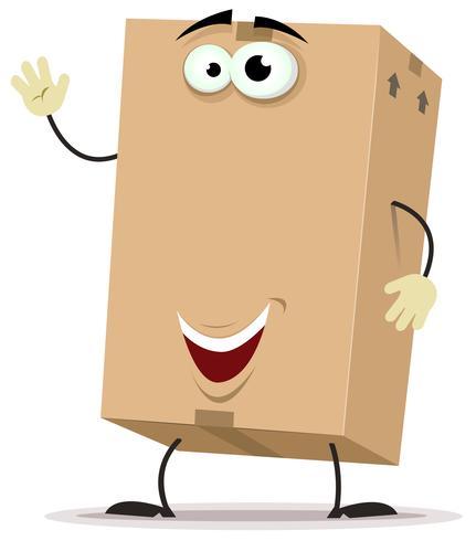 Personnage de livraison de carton de dessin animé
