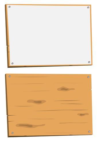 Leeg teken en houten bord