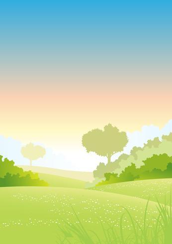Cartaz das estações da manhã do verão ou da mola