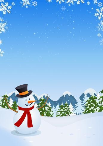 Muñeco de nieve en el paisaje de invierno vector