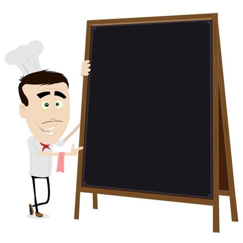 Chef cuisinier tenant un tableau noir vecteur