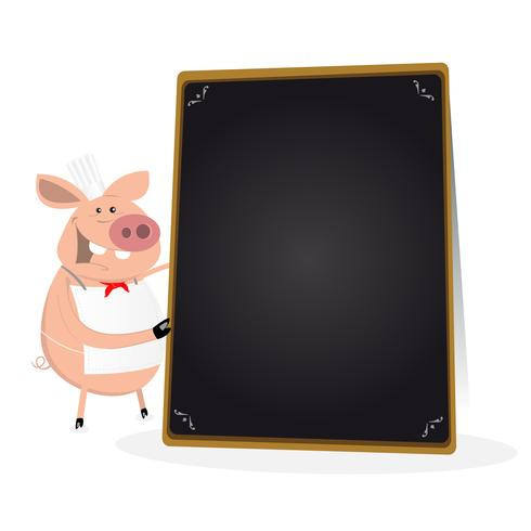 Pig Cook Holding Blackboard Menu vector