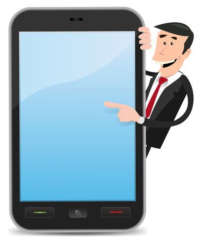 Homme bande dessinée pointant smartphone
