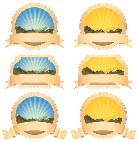 Summer Mountains Banner And Scroll Ribbons
