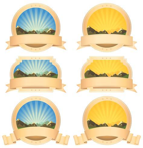 Banner de montañas de verano y cintas de desplazamiento