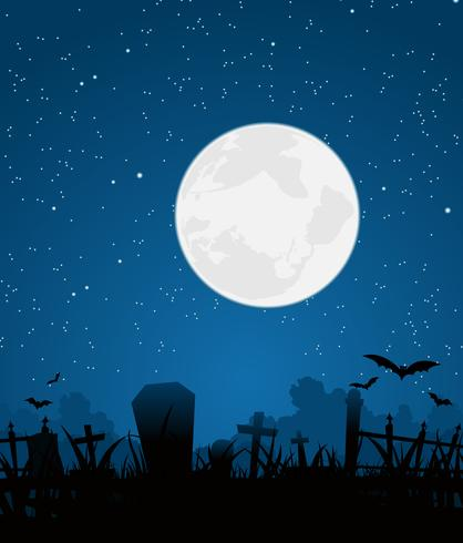 Halloween Moon And Graveyard