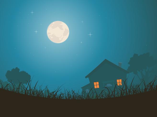 House In Moonlight Landscape
