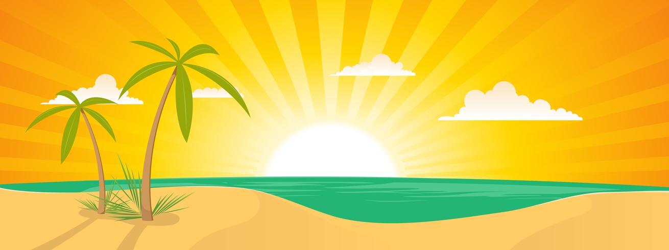 Bannière de paysage de plage exotique d'été