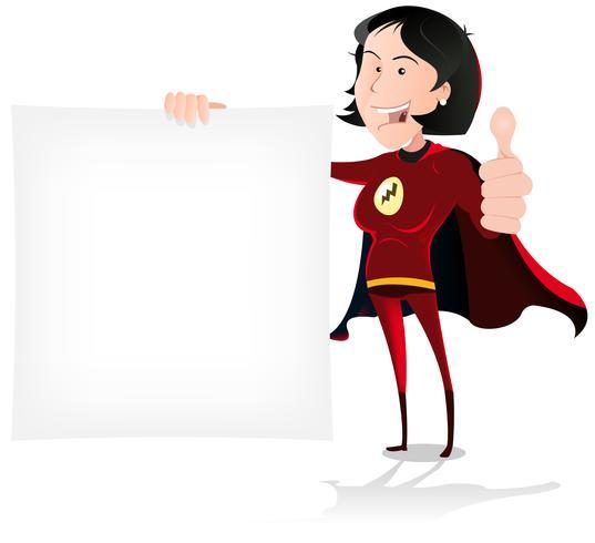 Super Girl Hero tenant une pancarte blanche