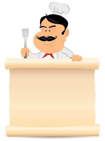 Chef cocinero sosteniendo pergamino menú