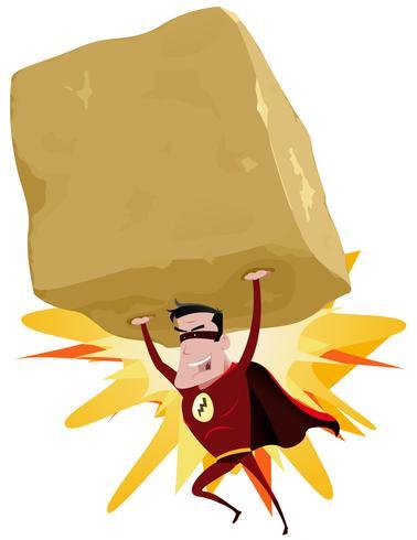 supereroe rosso che solleva una grande roccia pesante