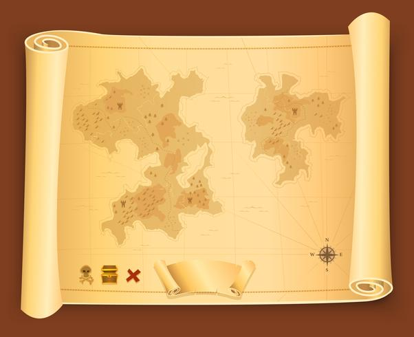 Mapa del tesoro en pergamino de desplazamiento