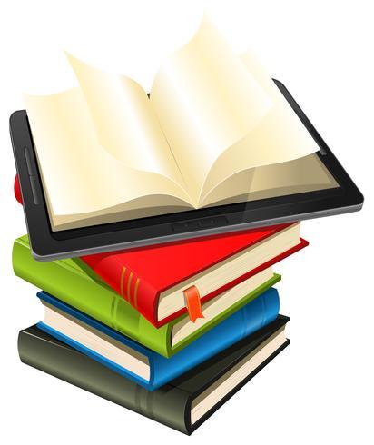 Tablet PC en una pila de libros