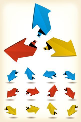 Conjunto de flechas de movimiento