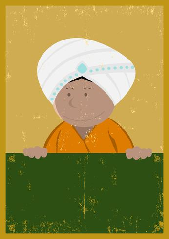 Grunge India Chef Cook Poster vector