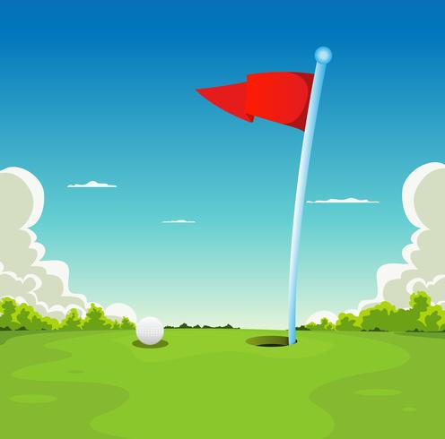 Putting Green - Golfball und Flagge