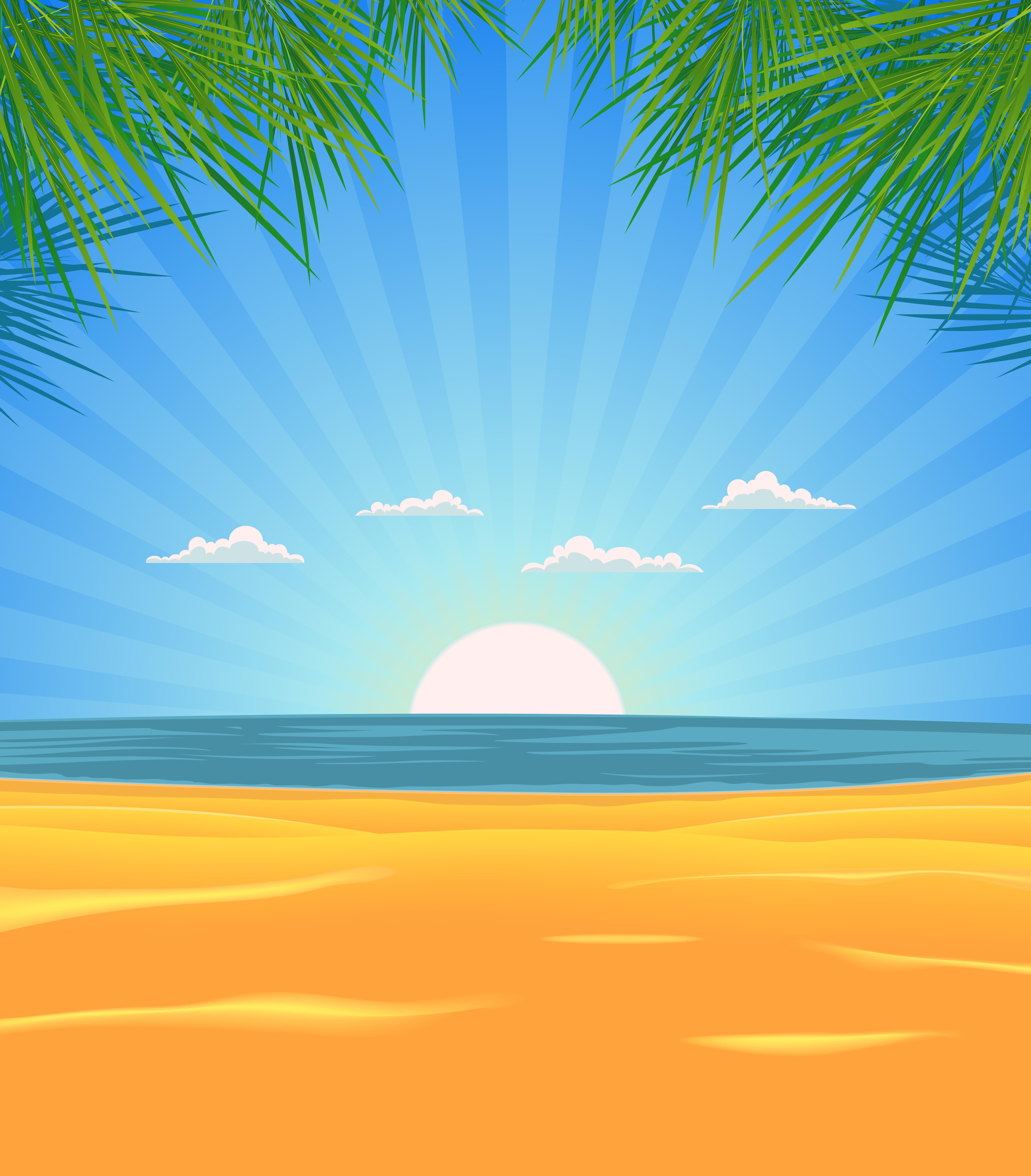 Summer Beach Landscape - Download Free Vectors, Clipart ...