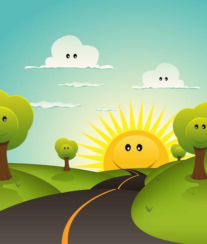 Dibujos animados de bienvenida de primavera o el paisaje de verano
