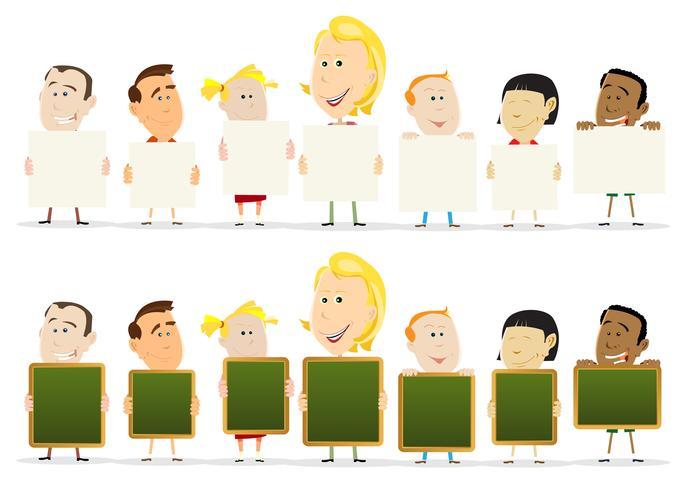 Lehrer Woman With Children Klassenzimmer-Holding-Zeichen