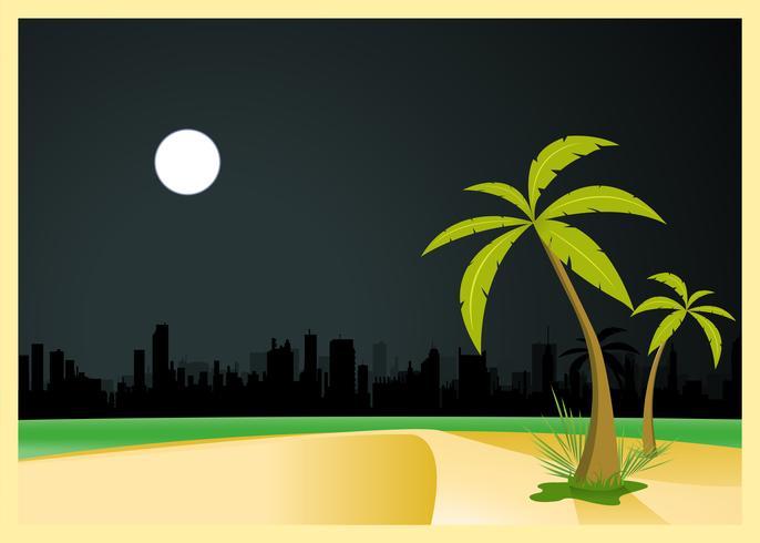Playa urbana por la noche vector