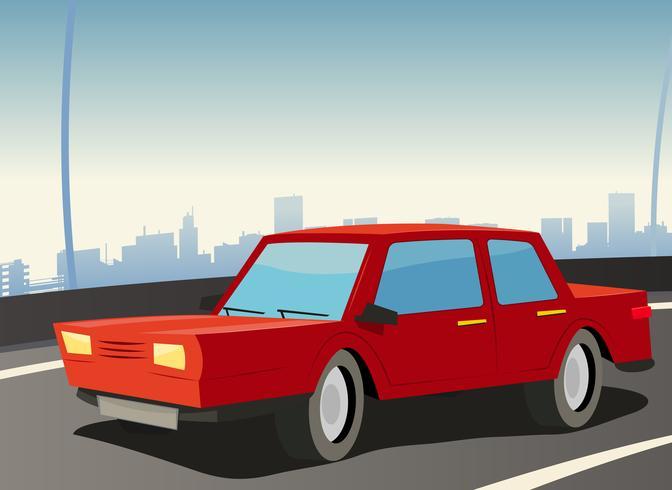 Coche rojo en la autopista de la ciudad