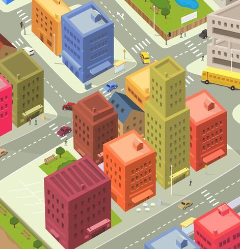 Cartoon City Aerial View vector