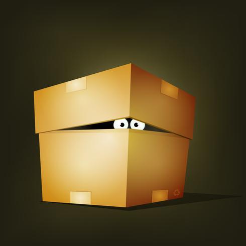 Criatura dentro de caja de cartón de cumpleaños