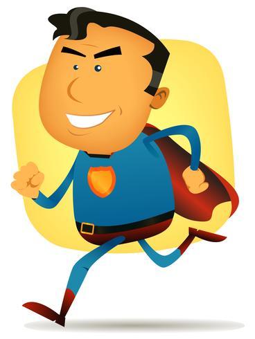 superhéroe cómico corriendo