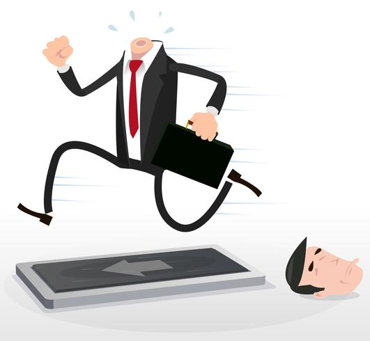 Karikatur-kopfloser Geschäftsmann, der auf einer Tretmühle läuft